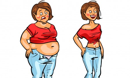 Young woman before and after weight loss trying to fit into her jeans . Hand drawn funny cartoon characters, sketch, isolated